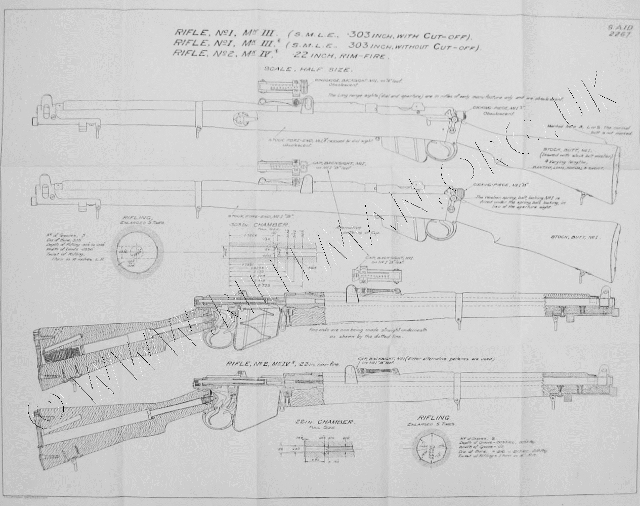 Lee enfield mkiii and no2 mkiv rifle drawings the lee enfield no1 and no2 rifle components drawings malvernweather Images