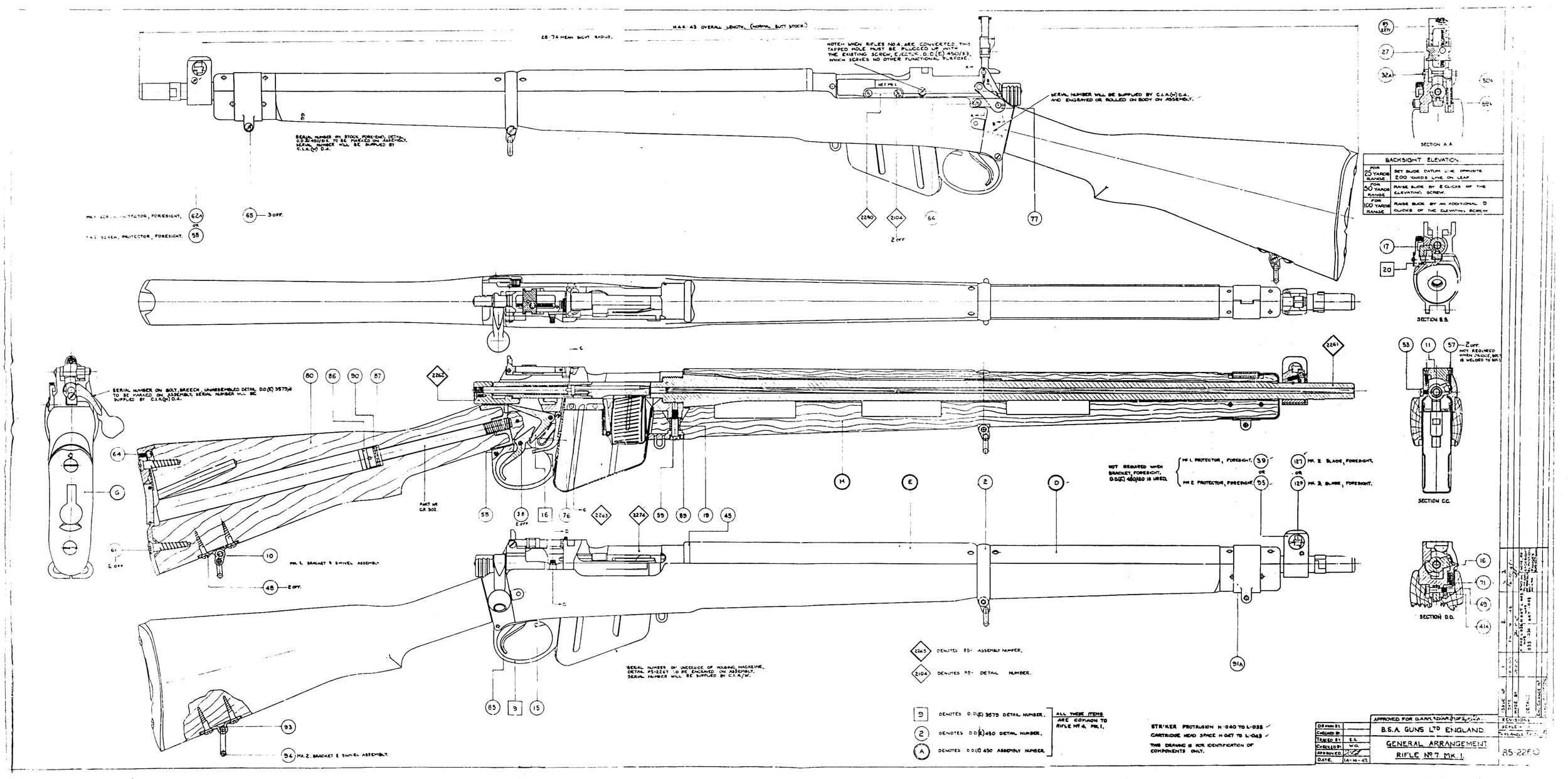 No.7 MkI (.22) parts diagram | Guns | Pinterest | Lee enfield